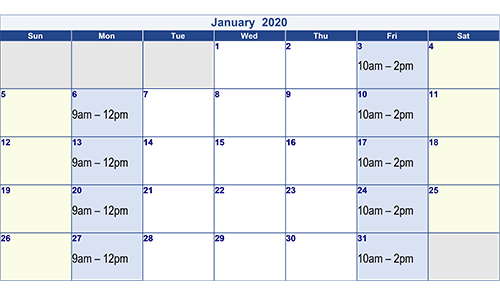 January 2020 Optician Calendar