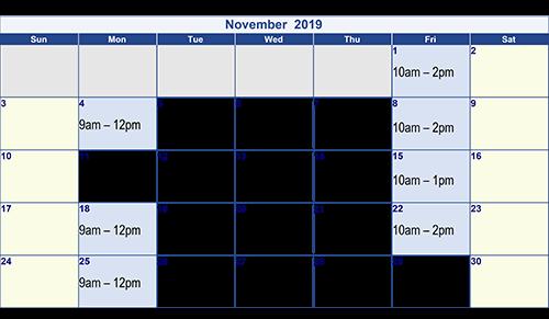November 2019 Optician Dates